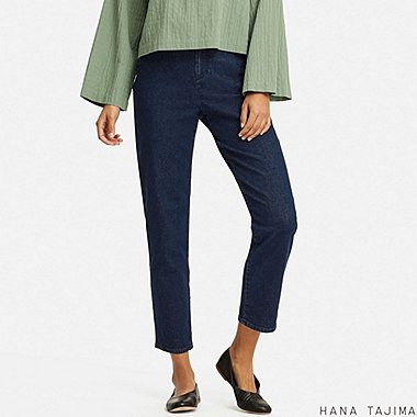 WOMEN DENIM TAPERED ANKLE PANTS (HANA TAJIMA), BLUE, medium