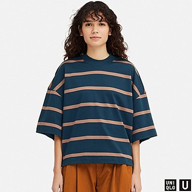WOMEN UNIQLO U OVERSIZED SQUARE STRIPED HALF SLEEVED T-SHIRT