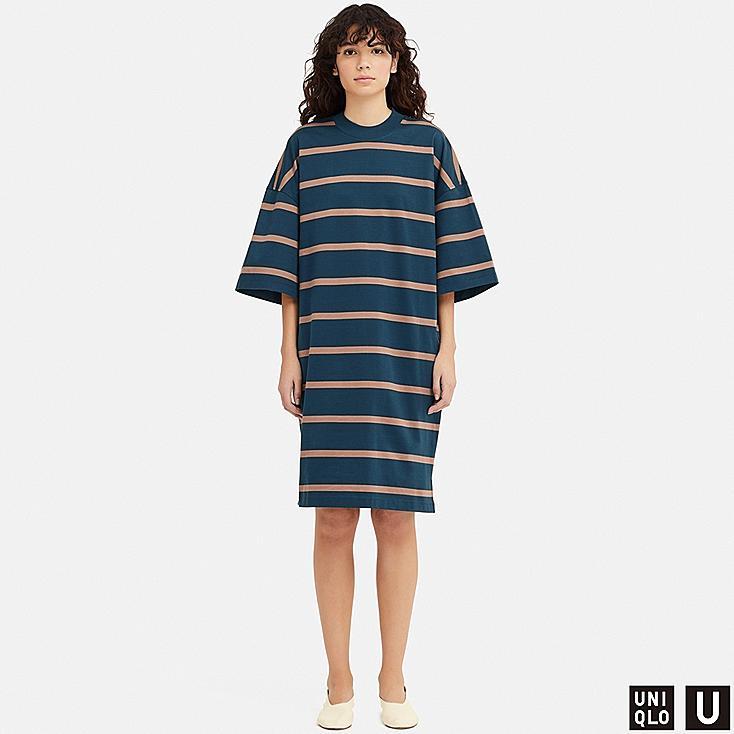 WOMEN U OVERSIZE STRIPED HALF-SLEEVE T-SHIRT DRESS, BLUE, large