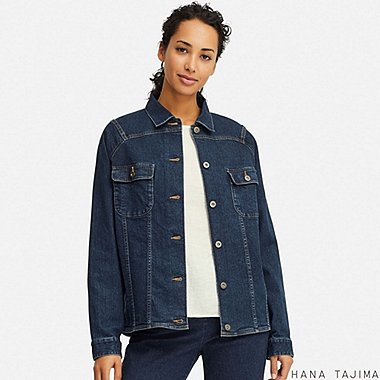 WOMEN DENIM OVERSIZE SHORT JACKET (HANA TAJIMA), BLUE, medium