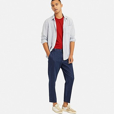 MEN EZY ANKLE-LENGTH PANTS (DENIM), BLUE, medium