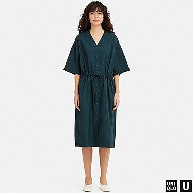 WOMEN U SHIRT SHORT-SLEEVE DRESS, BLUE, medium