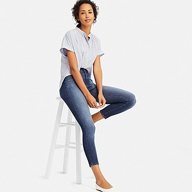 WOMEN HIGH-RISE ULTRA STRETCH ANKLE JEANS, BLUE, medium