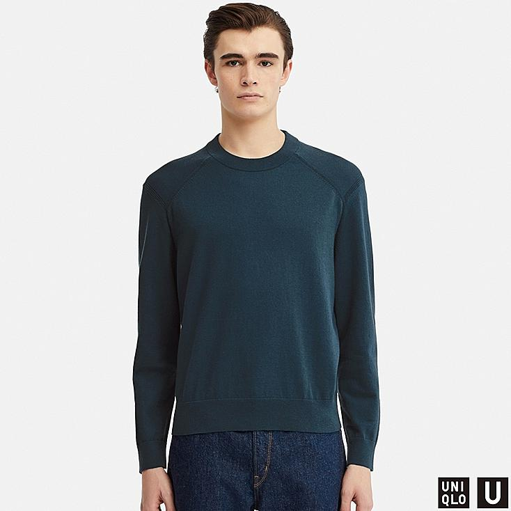 MEN U COTTON CASHMERE CREW NECK LONG-SLEEVE SWEATER, BLUE, large
