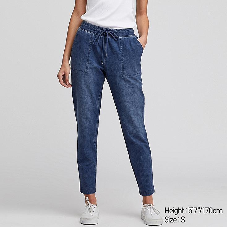 WOMEN DENIM JERSEY TAPERED PANTS, BLUE, large