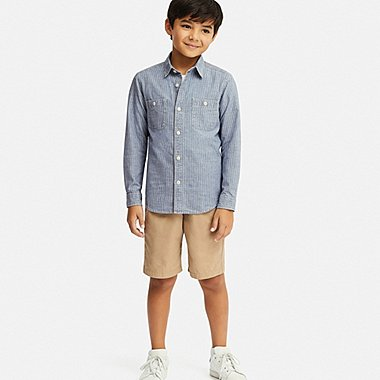 KIDS WORK LONG-SLEEVE SHIRT, BLUE, medium