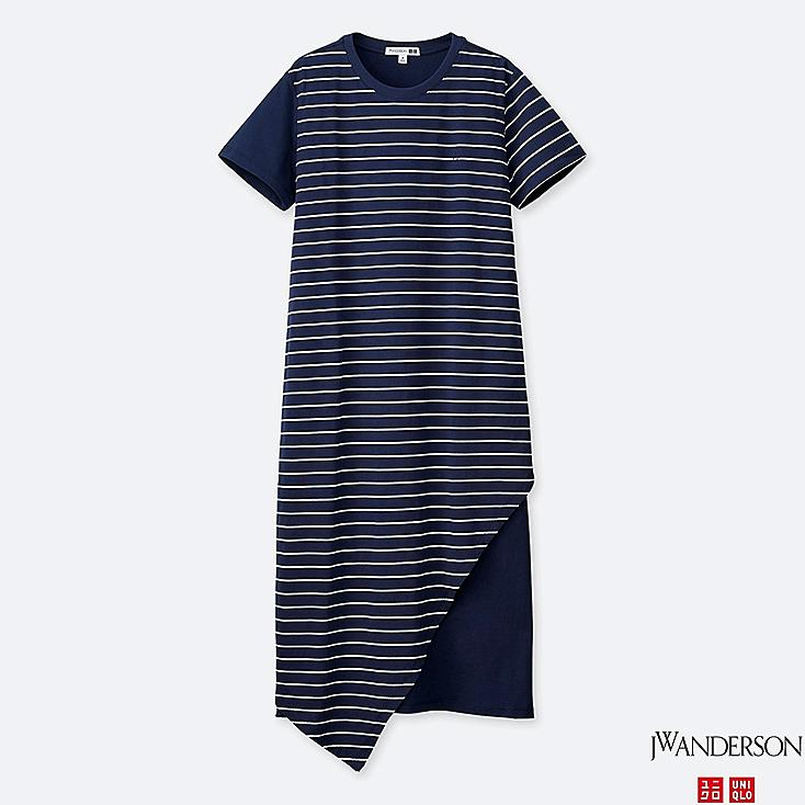 WOMEN ASYMMETRIC HEM SHORT-SLEEVE DRESS (JW Anderson), BLUE, large