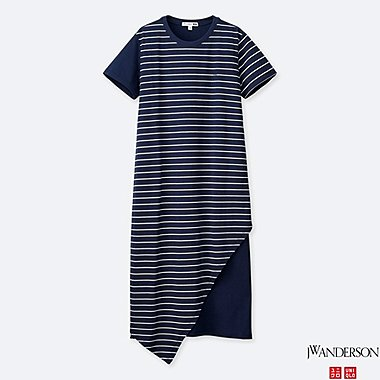 WOMEN ASYMMETRIC HEM SHORT-SLEEVE DRESS (JW Anderson), BLUE, medium