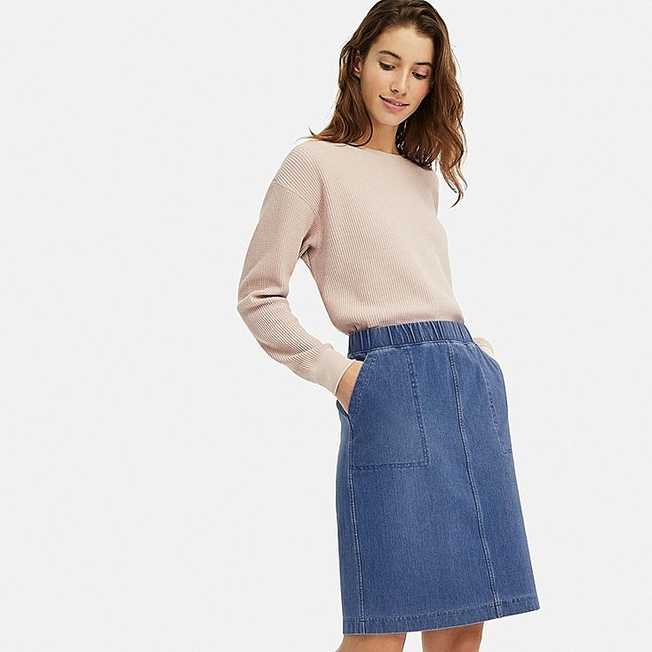 WOMEN DENIM JERSEY SKIRT, BLUE, large