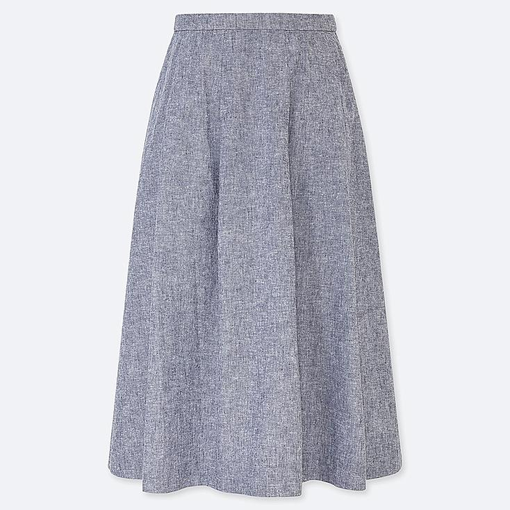 WOMEN LINEN COTTON TUCKED FLARE SKIRT, BLUE, large