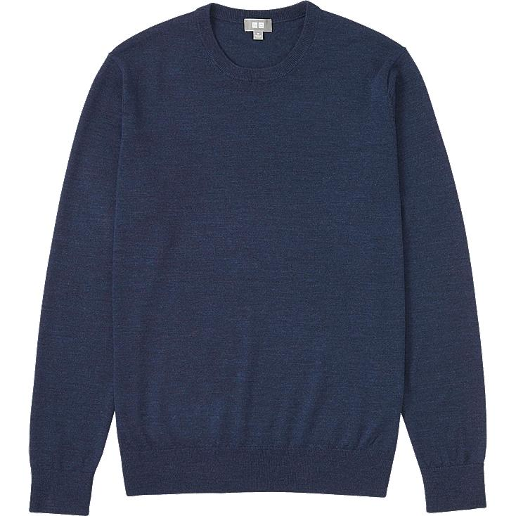 MEN EXTRA FINE MERINO CREW NECK SWEATER, BLUE, large
