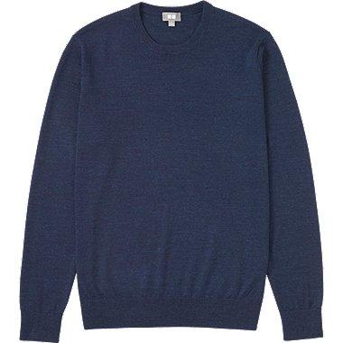 MEN EXTRA FINE MERINO CREW NECK SWEATER, BLUE, medium
