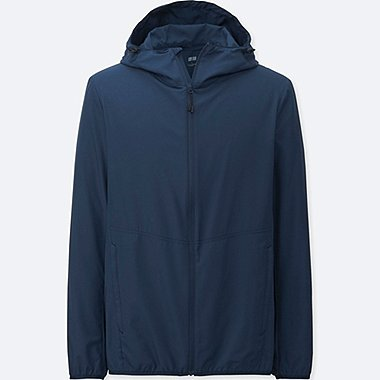 Mens Lightweight Packable Hooded Jacket, BLUE, medium