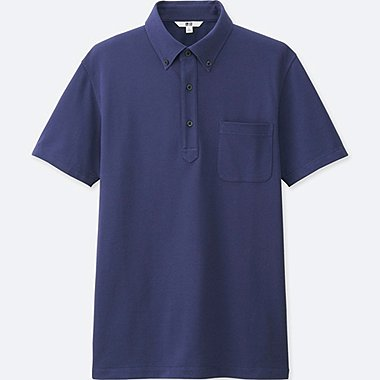 Men DRY COMFORT Button-Down Collar Polo Shirt, BLUE, medium