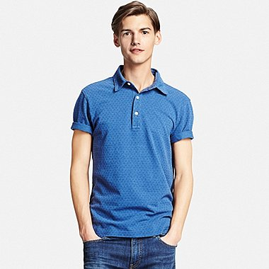 MENS WASHED PIQUE POLO SHIRT, BLUE, medium