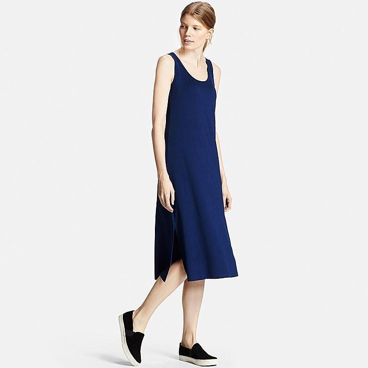 Women SOLID SHELF BRA DRESS, BLUE, large
