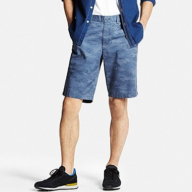 Mens Chino Patterned Shorts, BLUE, medium