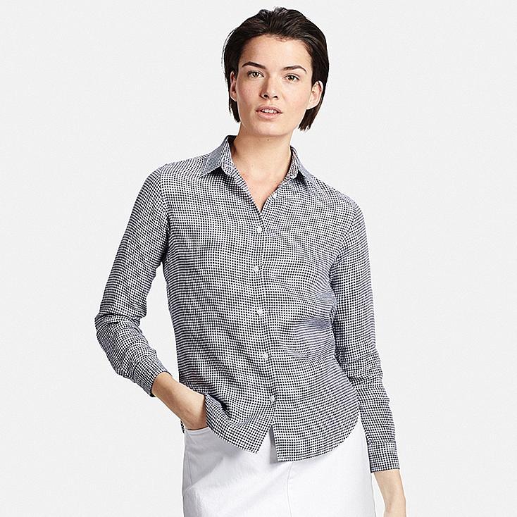 Women Premium Linen Patterned Long Sleeve Shirt Uniqlo Us