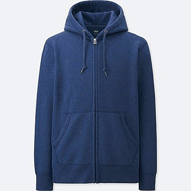 MEN SWEAT LONG SLEEVE FULL-ZIP HOODIE, BLUE, medium