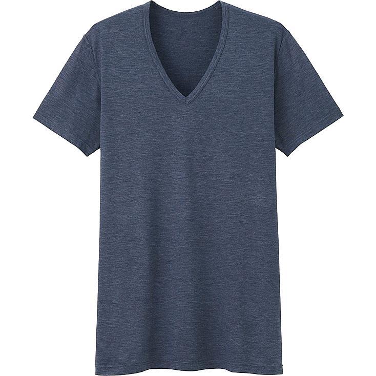 Men's HEATTECH V-Neck T-Shirt, BLUE, large