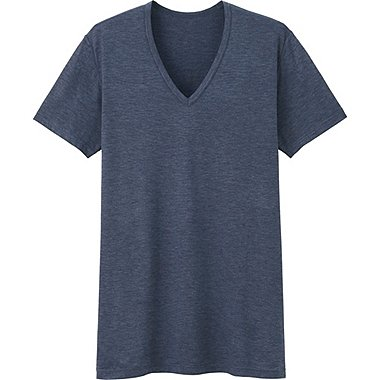 Mens HEATTECH V-Neck T-Shirt, BLUE, medium