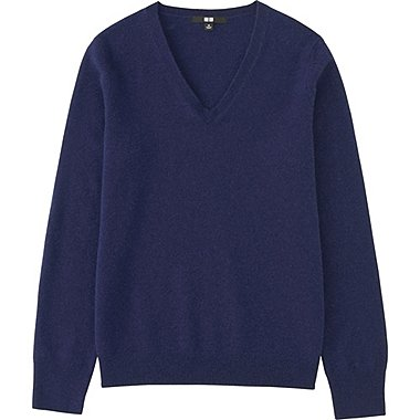 Womens Cashmere V-Neck Sweater, BLUE, medium
