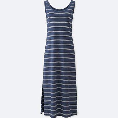 WOMENS STRIPED SHELF BRA DRESS, BLUE, medium