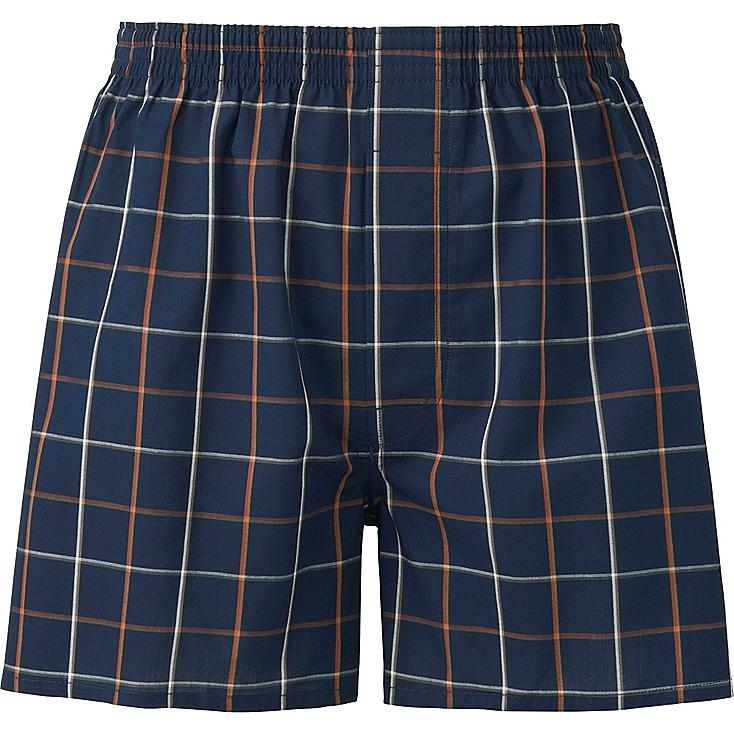 MEN WOVEN CHECKED TRUNKS, BLUE, large
