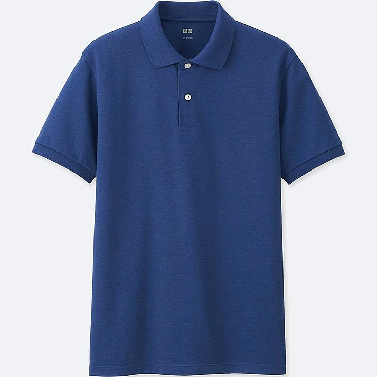MEN DRY PIQUE SHORT SLEEVE POLO SHIRT, BLUE, large