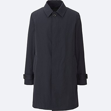 MEN CONVERTIBLE COLLAR COAT, BLUE, medium