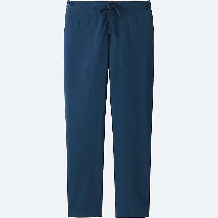 WOMEN COTTON LINEN RELAXED PANTS, BLUE, large