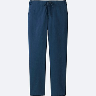 WOMEN COTTON LINEN RELAXED PANTS, BLUE, medium