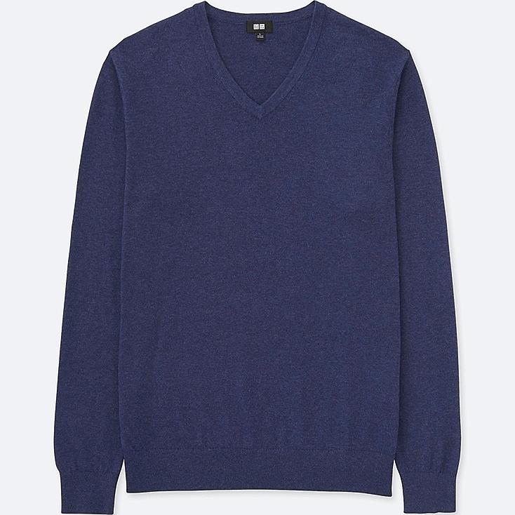 MEN COTTON CASHMERE V-NECK SWEATER, BLUE, large