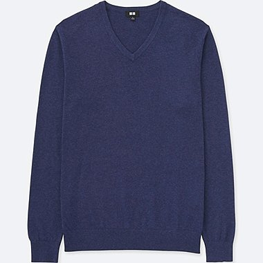 MEN COTTON CASHMERE V-NECK SWEATER, BLUE, medium