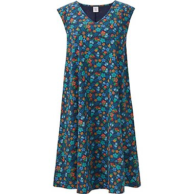 WOMEN  Flare Printed Sleeveless Dress