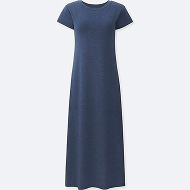 WOMEN SHORT SLEEVE LONG BRA DRESS, BLUE, medium