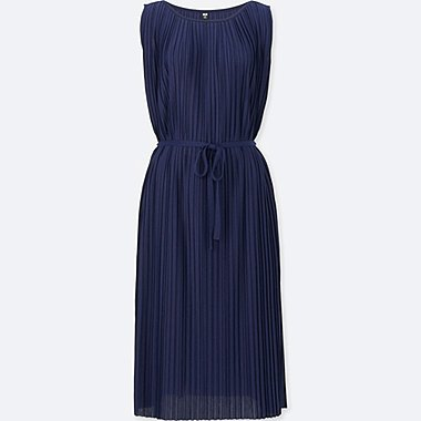 WOMEN Pleated Jersey Sleeveless Dress