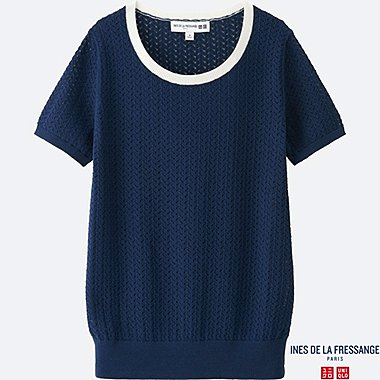 WOMEN IDLF POINTELLE CREWNECK SWEATER, BLUE, medium