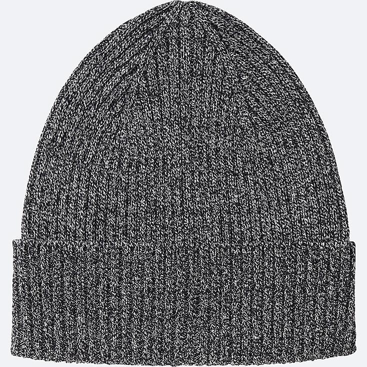 MEN RIBBED BEANIE, BLUE, large