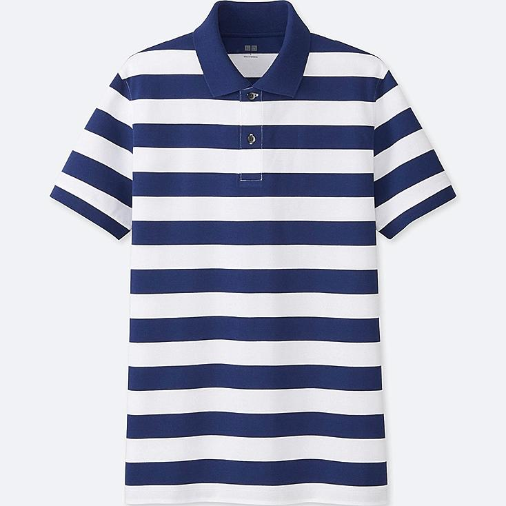 MEN DRY PIQUE STRIPED SHORT-SLEEVE POLO SHIRT, BLUE, large