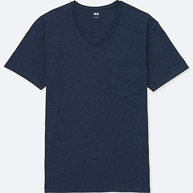 MEN Washed Slub Short Sleeve V Neck T-Shirt
