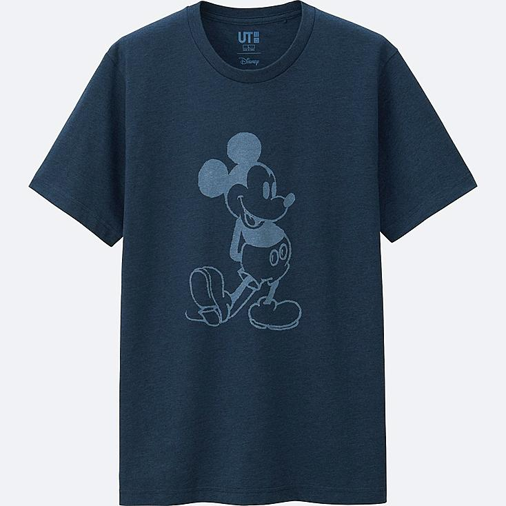 MEN MICKEY BLUE SHORT SLEEVE GRAPHIC T-SHIRT, BLUE, large