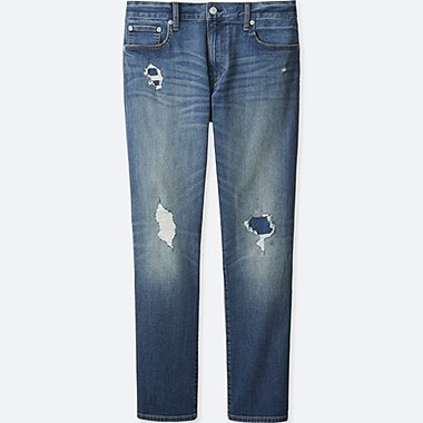 MEN SLIM FIT DAMAGED JEANS, BLUE, medium