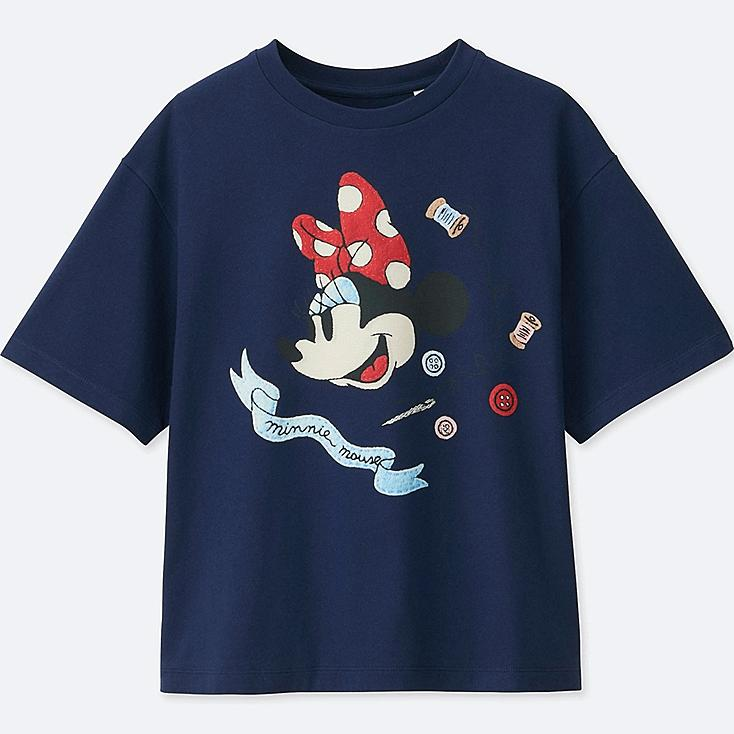 WOMEN Disney (MINNIE MOUSE LOVES DOTS) SHORT-SLEEVE GRAPHIC T-SHIRT, BLUE, large