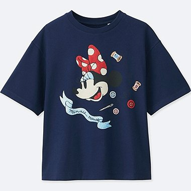 WOMEN Disney (MINNIE MOUSE LOVES DOTS) SHORT-SLEEVE GRAPHIC T-SHIRT, BLUE, medium