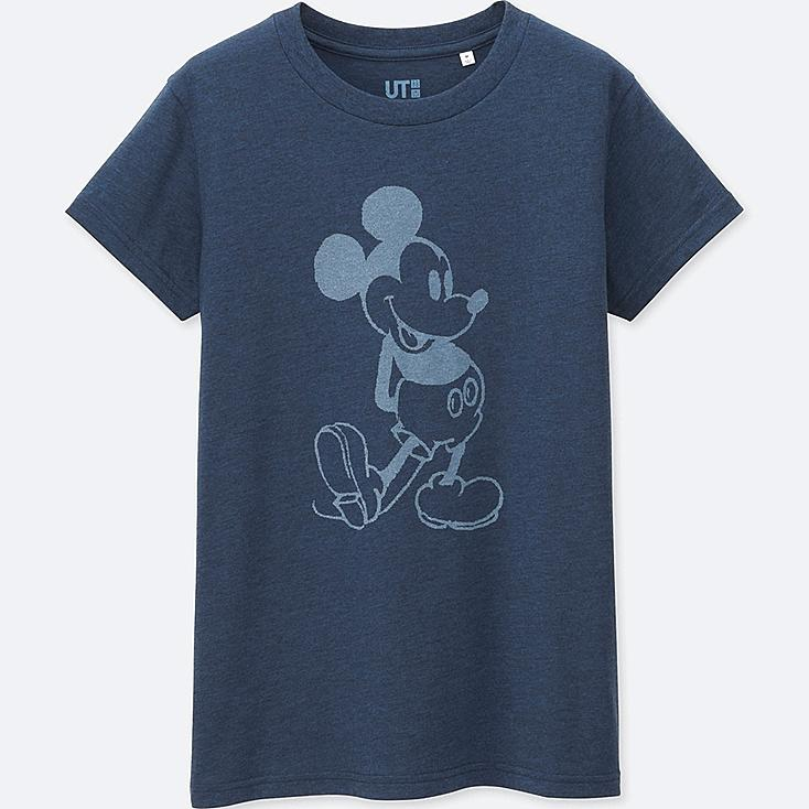 WOMEN MICKEY BLUE SHORT SLEEVE GRAPHIC T-SHIRT, BLUE, large