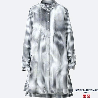 WOMEN INES Cotton Lawn Check Pin Tuck Long Sleeve Tunic