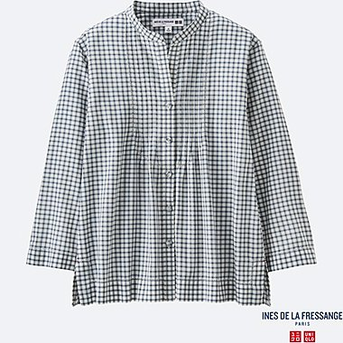 WOMEN INES Cotton Lawn Check Pin Tuck 3/4 Sleeve Shirt