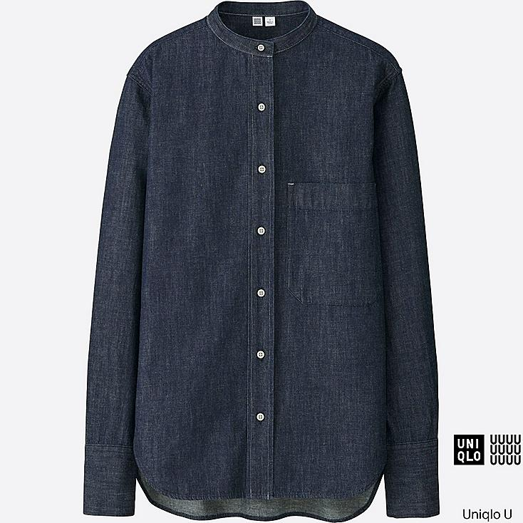 WOMEN Uniqlo U Denim Stand Collar Long Sleeve Shirt