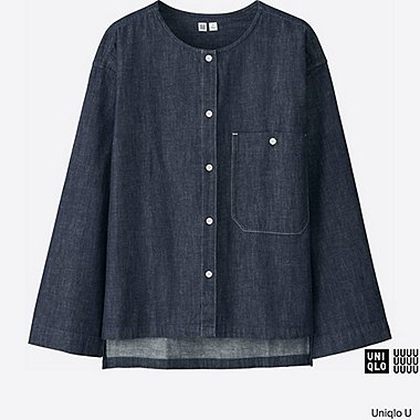 WOMEN Uniqlo U Oversized Denim Collarless Long Sleeve Shirt